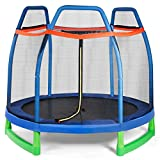 Giantex 7 Ft Kids Trampoline w/Safety Enclosure Net, Spring Pad, Zipper, Heavy Duty Steel Frame, Mini Trampoline for Indoor/Outdoor, Supports up to 275 Pounds, Great Gifts for Kids (Blue)