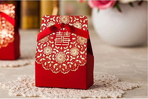 (Zorpia® 50 Pcs Shiny Glitter Sparkling gold flower chinese red wedding sweet box DIY Square Wedding Bridal Party Favor Candy Gift Boxes ZRA0168887(Red))