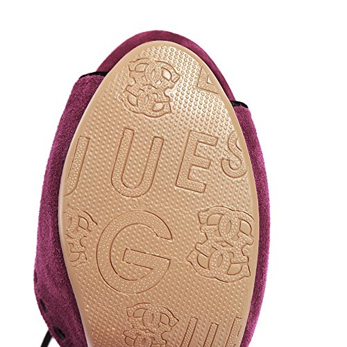 VogueZone009 Womens Open Peep Toe High Heel Platform Chunky Heels Blend Materials Frosted Solid Sandals with Buckle, Purple, 5 UK