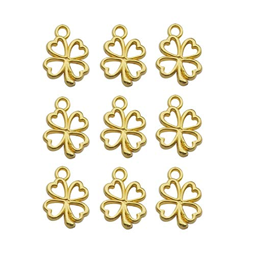iloveDIYbeads 120pcs Craft Supplies Gold Plated Four Leaf Clover Charms Pendants for Crafting, Jewelry Findings Making Accessory for DIY Necklace Bracelet (10257-120pcs) ()