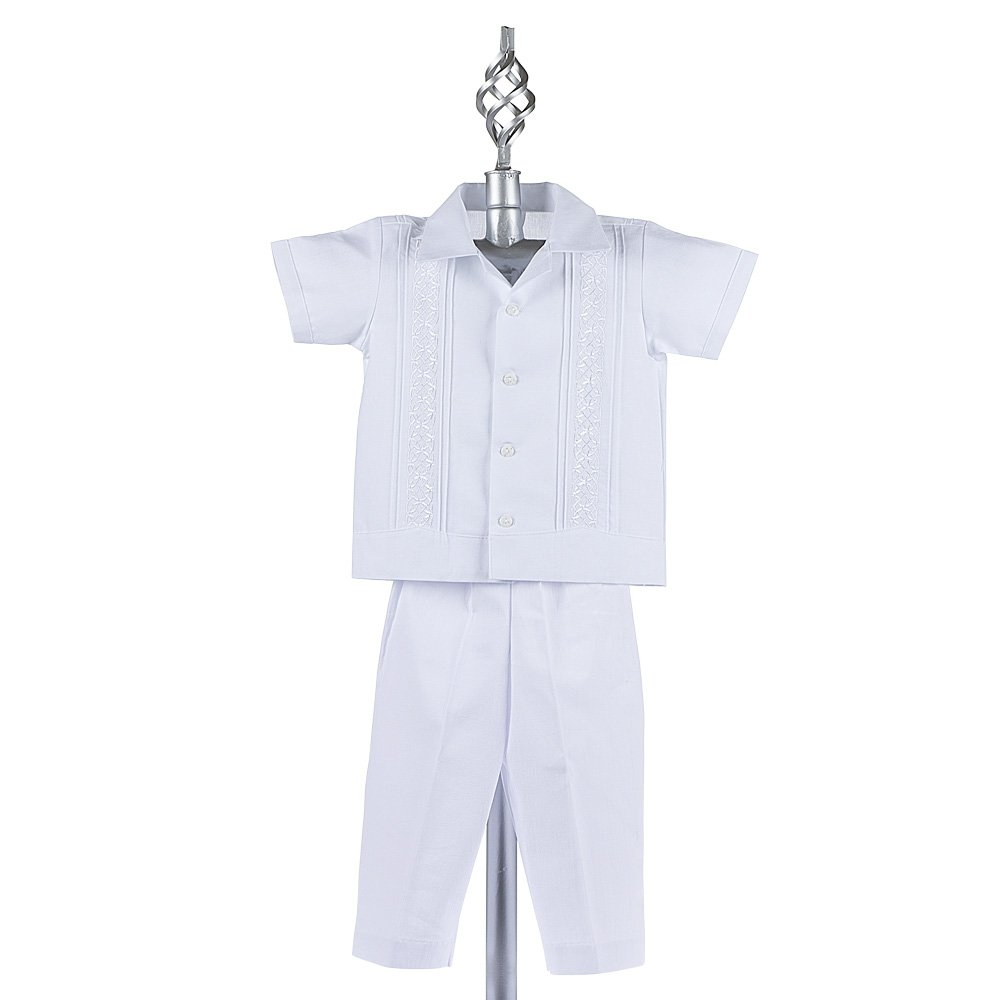 Mexican Wedding Shirt Cotton Guayaberas Boys Baptism Shirt w// Pants Set Boys Guayabera Shirt style 910