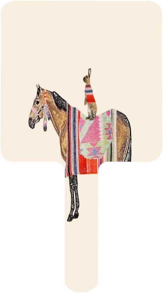 Espejo de mano, caballo con liebre cuadrado espejo de mano con mango para maquillaje de tocador, hogar, salón de viaje, uso 3.5 pulgadas de ancho x 6.3 pulgadas de largo