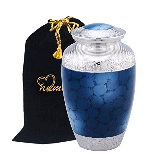 Mediterranean Mystic Blue Cremation Urn for Human Ashes with Velvet Bag- Blue Urn - Adult Funeral Urn Handcrafted with Engraved Silver Bands - Brass Urn - Affordable Urn for Ashes - Large Urn Deal. Mediterranean Urn