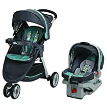 Graco FastAction Fold Sport Travel System with SnugRide Click Connect, 35 Infant Car Seat Botany, Grey/Green