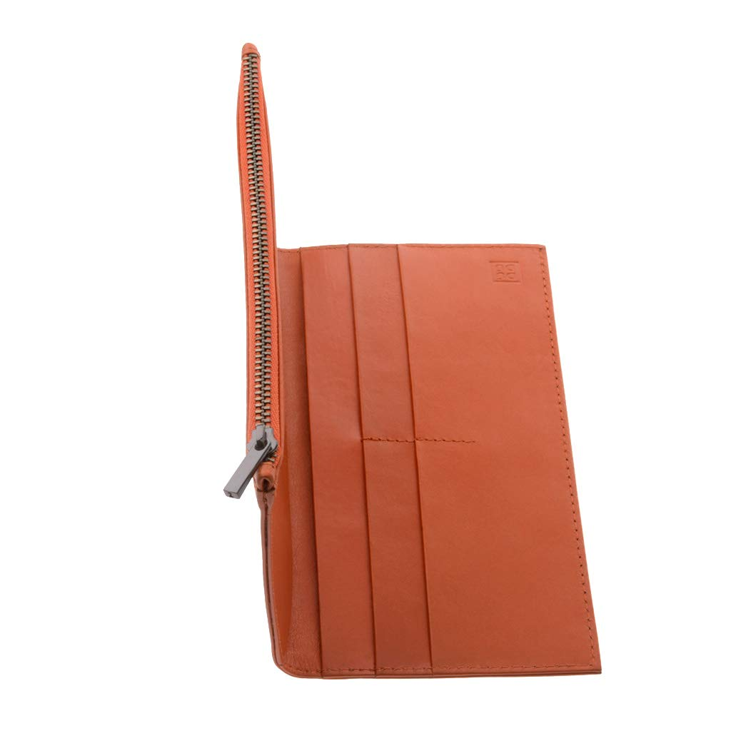Orange Tom DUDU Mens Large Bifold Wallet made in Genuine Leather with external Zip Card /& Money Paper Holders