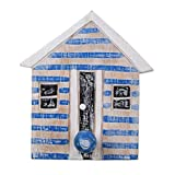 NOVICA Decorative Wood Wall Mounted Coat Hanger, Blue and White, Beach House Blue'