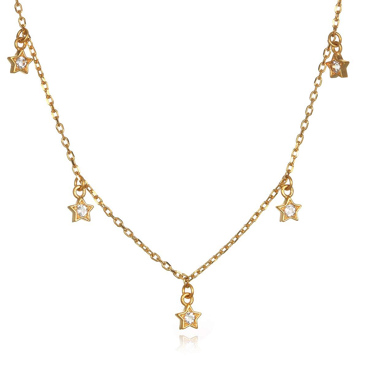 Satya Jewelry Women's White Topaz Gold Star Choker Necklace (14-inch +2'' ext), One Size