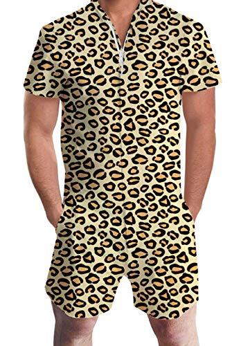 AIDEAONE Men 3D Graphic One Piece Romper Leopard Casual Zipper Short Sleeve Jumpsuit - One Piece Man