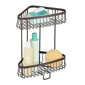 Mdesign free standing bathroom or shower - Free standing corner bathroom shelves ...