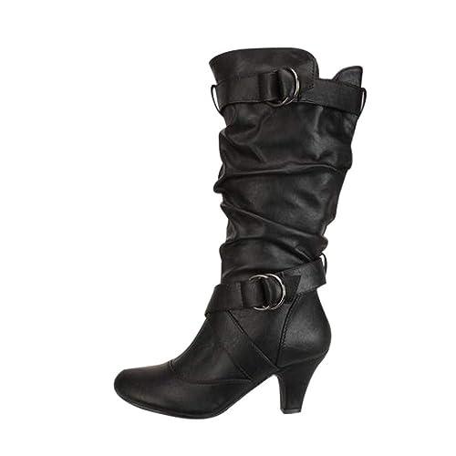 K-Youth Botas Altas Mujer Rodilla Botas de Cuero Moda Botas de Agua Mujer Lluvia Altas Militares Zapatos Impermeables Ajustable Cordones y Hebilla Goma ...