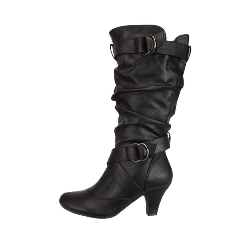 Frashing High Heels Stiefeletten Frauen Stiefel mit Absatz Stiefeletten Damen Winter Stiefel mit Schnalle Keil Biker Stiefel, 5cm