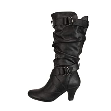 fd6ce39ce36e Amazon.com  Fiaya Sexy Women s Slouchy Knee High Wide Calf Round Toe Boots  Block Heel Long Thigh Boots  Clothing