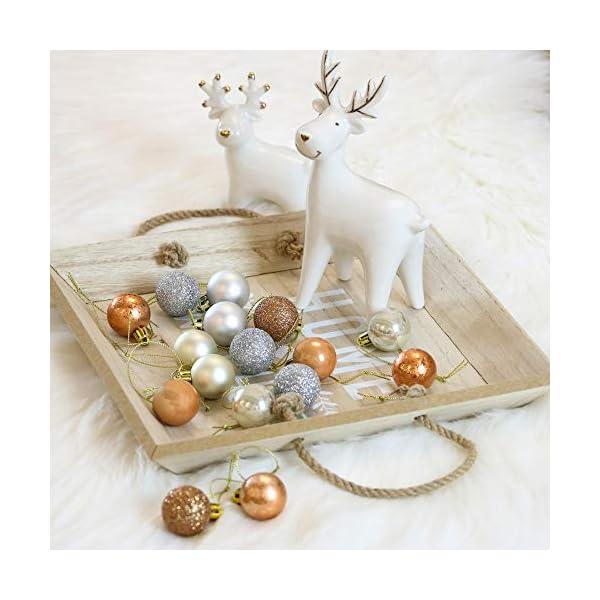 Valery Madelyn Palle di Natale 49 Pezzi 3 cm Addobbi Natalizi per Albero, Rame da Bosco e Oro Infrangibile Ornamenti Palla di Natale Decorazione per Albero di Natale Decor 6 spesavip