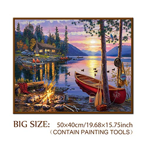 DIY 5D Diamond Painting Kit, ONE Phoenix Full Round Drill Forest Lake Sunset & Duck Large Kits, Clearance Rhinestone Diamond Art for Wall Decor, Contain Tools (50x40CM/19.69x15.75INCH) ()