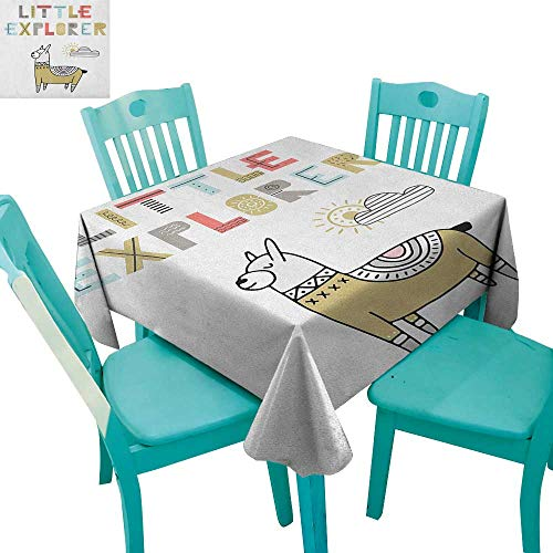 longbuyer Kids,Dinning Tabletop Decor,Hand Drawn Colorful Llama on Sunny Day with Little Explorer Quote in Colorful Letters,70