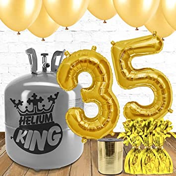 35th Birthday Gold Balloons And Helium Gas Package Amazoncouk Toys Games