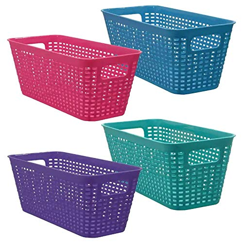 Small Colorful Plastic Baskets Rectangle Tray Pantry Organization and Storage Kitchen Cabinet Spice Rack Food Shelf Organizer Organizing for Desks Drawers Weave Deep Closets Lockers (Colorful Laundry Baskets)