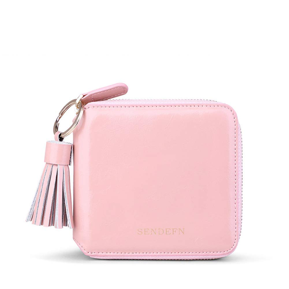 Light Pink KHGUDS Fashion Split Leather Women Wallet Short Lady Purse Card Holder Coin Pocket Purse Female with Tassel