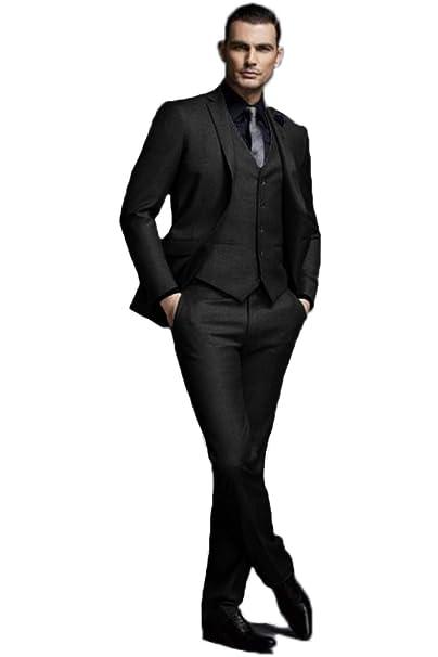 0cbf421b5c3c42 JY Mens 3 Pieces Mens Suits Groom Wedding Party Tuxedos Formal Suits Black