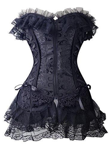 Corsé Vestido Corto Negro Diseño Vintage con encaje victoriano Burlesque negro XL
