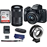 Canon EOS M50 Mirrorless Digital Camera with 15-45mm + 55-200mm Lenses -Black (USA Warranty) + Canon EOS M Mount Adapter for Canon EF/EF-S Lenses - 6098B002