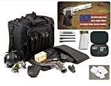 Explorer Rangemaster II - Large Black Padded Deluxe Tactical Range - Gear Bag - 2nd Ammendment Freedom TekMat & 25 Pc Handgun Master Cleaning Kit with Patches