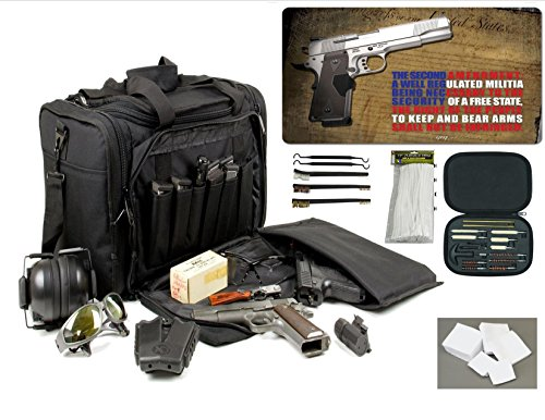 Explorer Rangemaster II - Large Black Padded Deluxe Tactical Range - Gear Bag - 2nd Ammendment Freedom TekMat & 25 Pc Handgun Master Cleaning Kit with Patches by VAS First Response