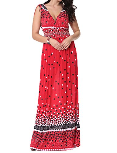 WenVen Women's Polka Dot Elastic Maxi Summer Dress Plus Size(Red,US 2XL/Asian 6XL)