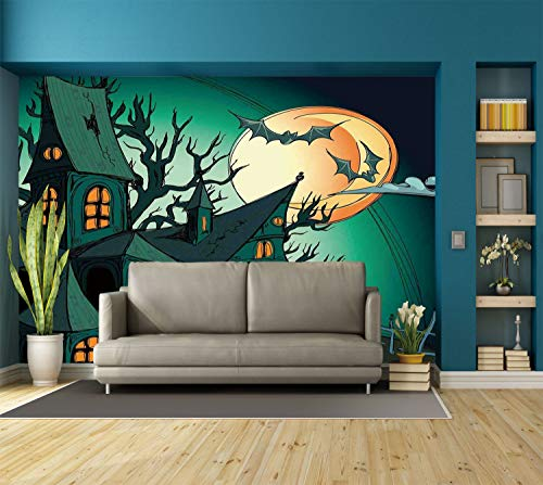 Large Wall Mural Sticker [ Halloween Decorations,Haunted Medieval Cartoon Bats in Twilight Gothic Fiction Spooky Art,Orange Teal ] Self-Adhesive Vinyl Wallpaper/Removable Modern Decorating Wall Art for $<!--$238.99-->