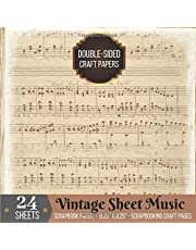 Vintage Sheet Music Scrapbook Paper Double-sided for Scrapbooking Craft: 24 Printed Music Sheets for Papercrafts, Album Scrapbook Cards, Decorative Craft Papers, Backgrounds, Stamp Making, Cardmaking, Origami, Collage Sheets, Antique Old Printed Design