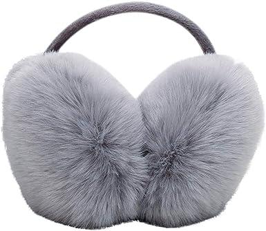 White Cute Fur Ear Muffs Warmer Women Girl Plush Winter Thick Fluffy Behind Head