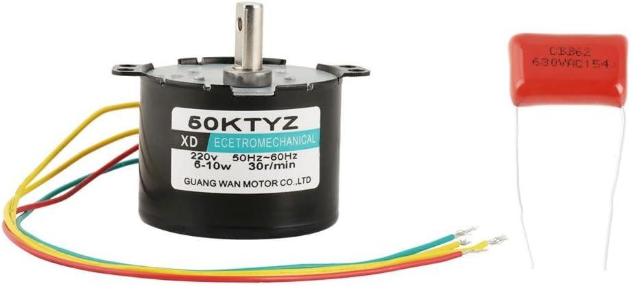 1 PZ AC220V 5-50 RPM Miniature Bassa Velocit/à Grande Coppia di Forza Motore Sincrono CW//CCW 5rpm