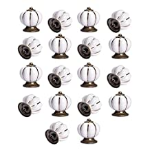 Yazer Excellent Unique Personality Ceramic Pumpkin Knobs Vintage Pulls and Handles for Drawers,Cabinet,Wardrobe,Dresser[Pack of 18] (White)