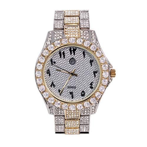 - Men's Analog Display Iced Out Gold Watch with Arabic Dial and Simulated Diamond Crystals