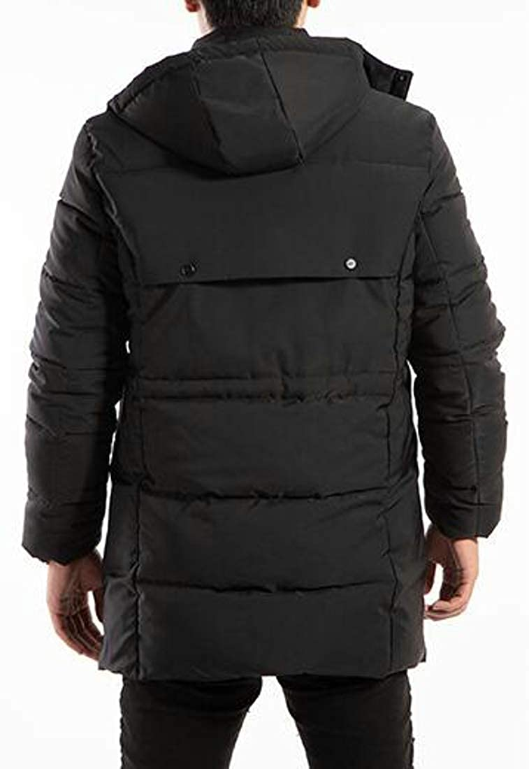 Wofupowga Mens Outerwear Removable Hoodie Thicken Dwon Coat Parkas Jackets