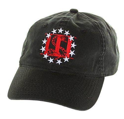 Molon Labe Apparel Men's Cotton Hat Three Percenter, Black with Red and (Organic Cotton Visor)