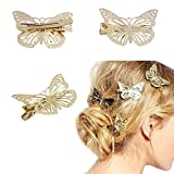 Ikevan Hot Selling 1Pair Shiny Golden Butterfly Hair Clip Headband Hair Accessories Headpiece