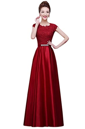 Drasawee Women Long Satin Bridal Dress Lace Prom Party Formal Gowns Burgundy US0