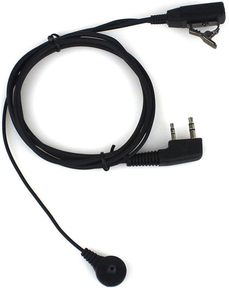Auriculares de diadema con micr/ófono PTT 2 unidades para Kenwood PUXING Baofeng UV-5R UV-5RA 888S radio de 2 v/ías 2 pines BaoFeng