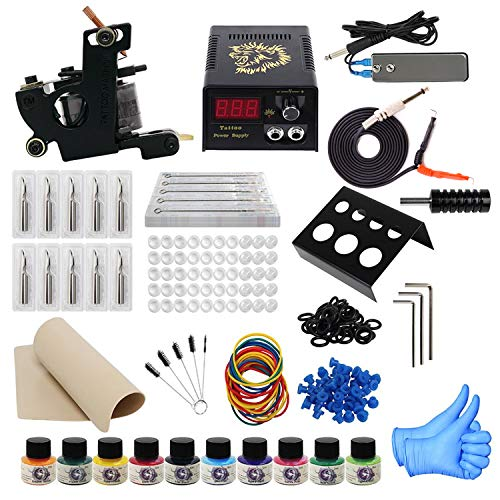 - ITATOO Complete Tattoo Kit for Beginners Tattoo Power Supply Kit 10 Tattoo Inks 30 Tattoo Needles 1 Pro Tattoo Machine Kit Tattoo Supplies TK1000009