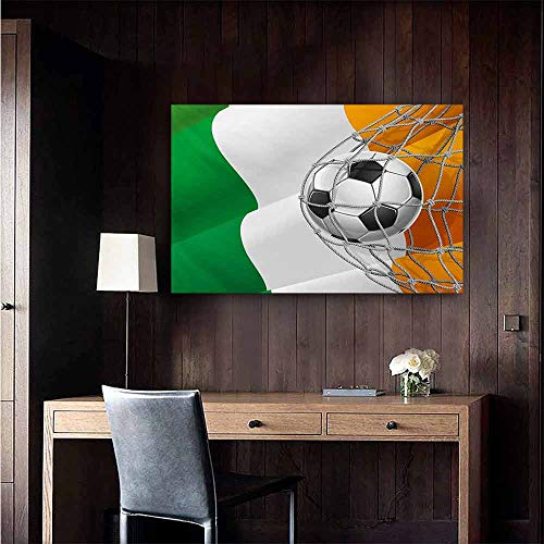 duommhome Irish Wall Art Decor Poster Painting Sports Theme Soccer Ball in a Net Game Goal with Ireland National Flag Victory Win Decorations Home Decor 24