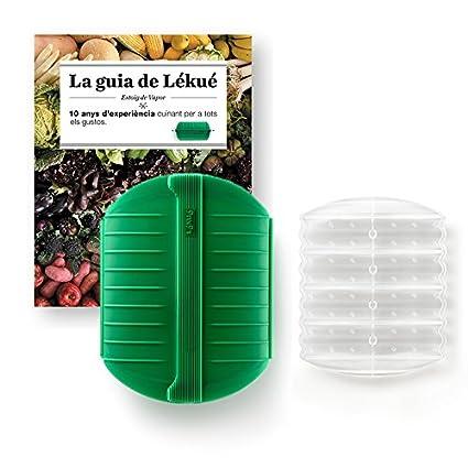 Lékué Kit Estuche de Vapor con Libro en Idioma Catalán y Bandeja, Silicona, Verde
