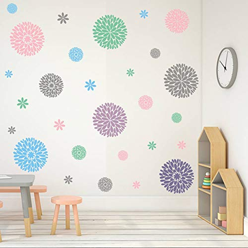 - TOARTi Fireworks Blooming Flower Wall Decal, Attractive Fireworks Pattern Sticker for Party Supplies, Great Circle Window Cling Decor (30pcs Multicolor Decals)
