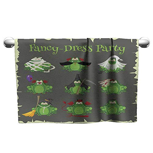 Kid Towels Halloween Green Toads Fashion Costume Outfits Cartoon Style Vector Illustration Isolated on White Background Microfiber Beach Towel Quick Dry Towel 10 x 10 Inch ()