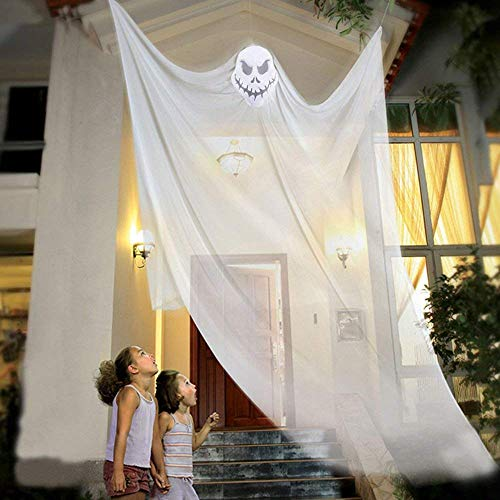 Halloween Hanging Ghost Prop Hanging Skeleton Flying Ghost, Halloween Hanging Decorations for Yard Outdoor Indoor Party Bar, 3.3m/10.8ft Long (White)]()