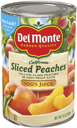 Del Monte Sliced Peaches Yellow Cling Peaches in 100% Real Fruit juices from Concentrate, 15-Ounce (Pack of 6) by Del Monte