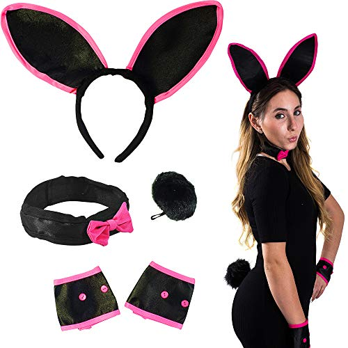 Funny Party Hats Halloween Costume for Women - 4 Pc Set - Black Bunny Ears, Collar, Cuffs & Tail - Bunny Costume - Playboy Bunny Costume for $<!--$8.99-->