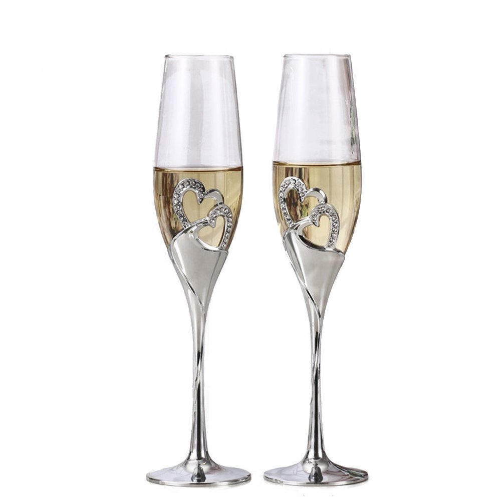 2-Piece Creative Champagne Glass Set Wedding Crystal Glasses Heart-shaped Wedding Champagne Gift Cut Glasses (Champagne Glasses 1#) China