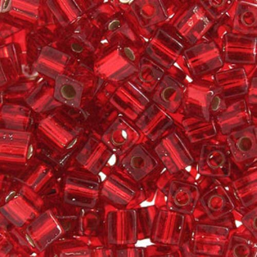 3mm Japanese Seed Beads Silver Lined Transparent Red Square 20Grams Spacer Beads and Roll Crystal String for Bracelets Jewelry Making