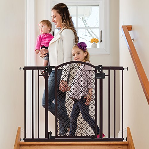 Summer Modern Home Decorative Walk Thru Baby Gate, 28-42 Inch Wide Pressure Mount (Gate Stair Open Baby)